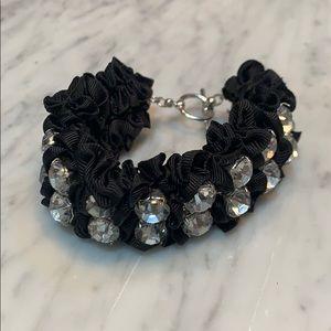 Jewelry - Black nylon/silk bracelet with large crystals